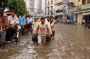 The type of flooding in Bangladesh that Wahid tries to predict.